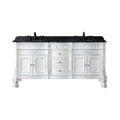 Daventry 72 in.W Bath Vanity in Antique White and Gold Brush with Granite Vanity Top in Black with White Basins