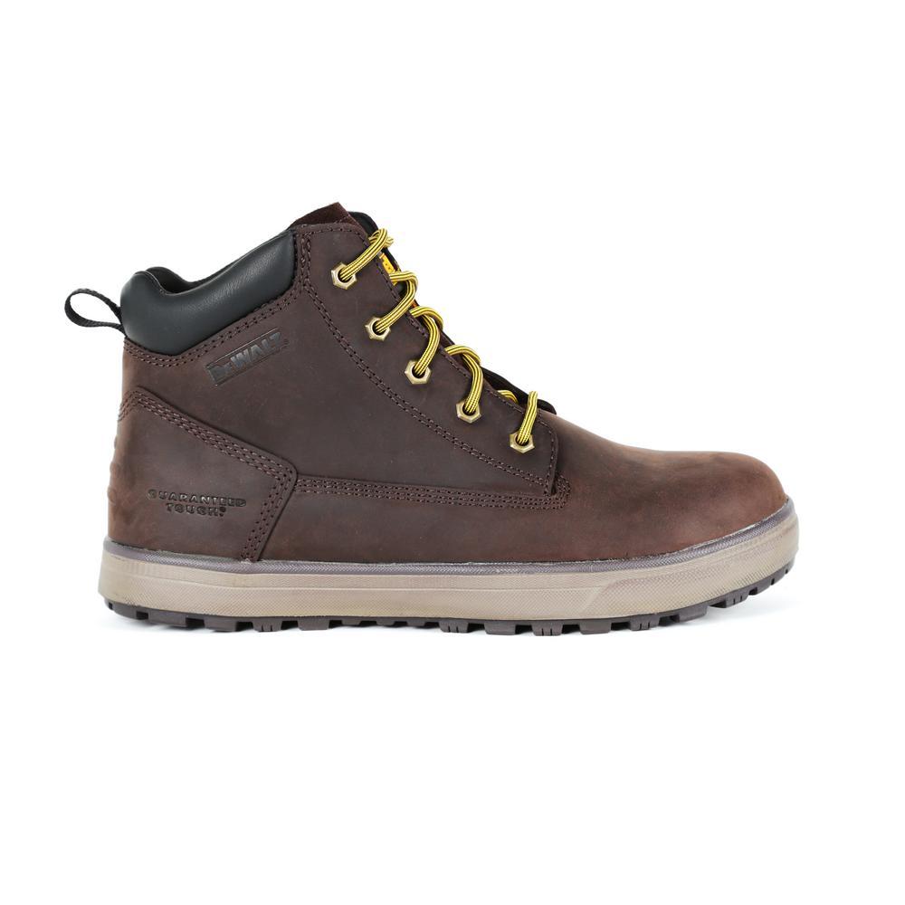 5b0083744e7 DEWALT Helix Men s Size 9.5 Dark Brown Leather Steel Toe 6 in. Work Boot