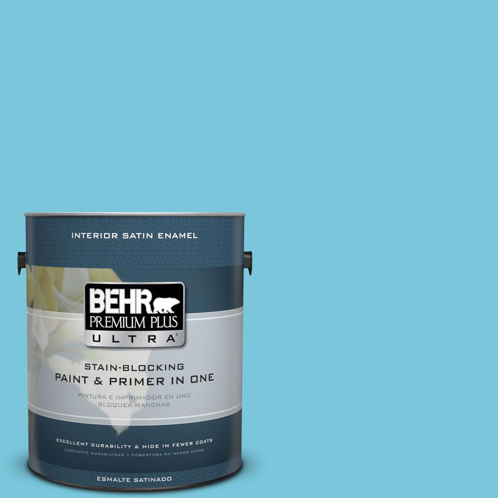 BEHR Premium Plus Ultra 1-gal. #520B-4 Water Flow Satin Enamel Interior Paint