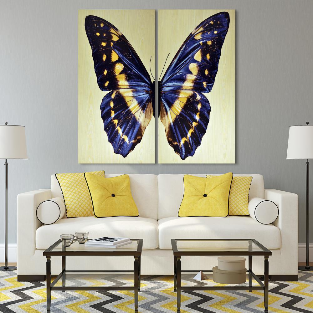 48 In X 24 In Butterfly 2 Piece Digital Image On Maple Veneer Frameless Wooden Wall Art