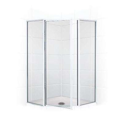Legend Series 54 in. x 70 in. Framed Neo-Angle Swing Shower Door in Chrome and Clear Glass