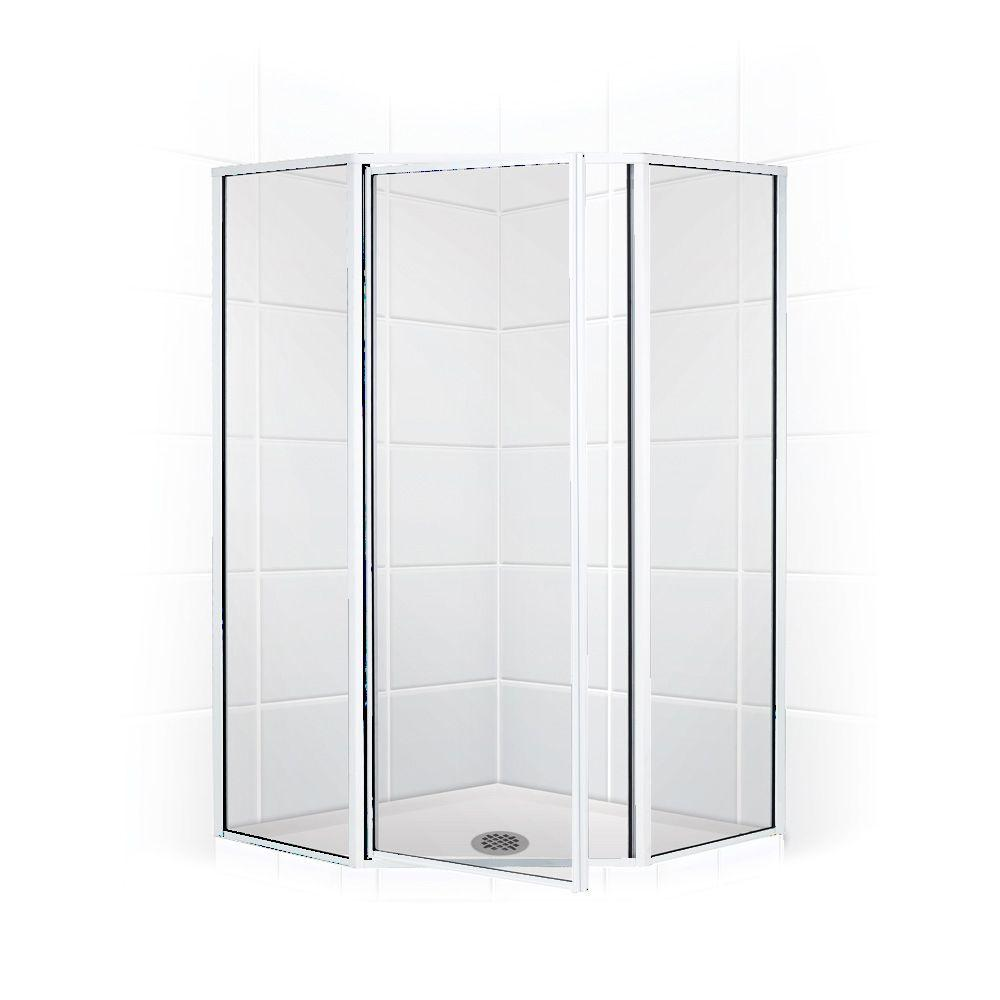 Coastal Shower Doors Legend Series 56 in. x 70 in. Framed Neo-Angle Shower Door in Chrome and Clear Glass