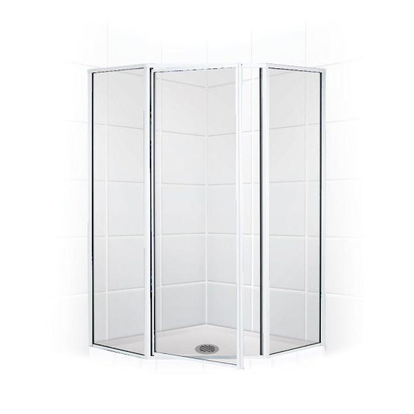 Coastal Shower Doors Legend 59 In X 66 In Framed Neo Angle Swing Shower Door In Chrome And Clear Glass Nl18231866b C The Home Depot