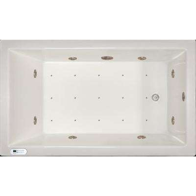 4.96 ft. Left Drain Drop-In Rectangular Whirlpool and Air Bath Tub in White with Tranquility Package
