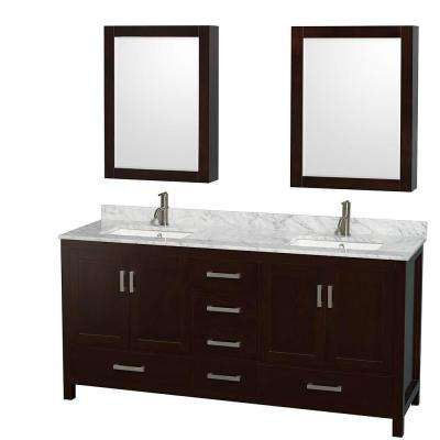 Sheffield 72 in. Double Vanity in Espresso with Marble Vanity Top in Carrara White and Medicine Cabinets