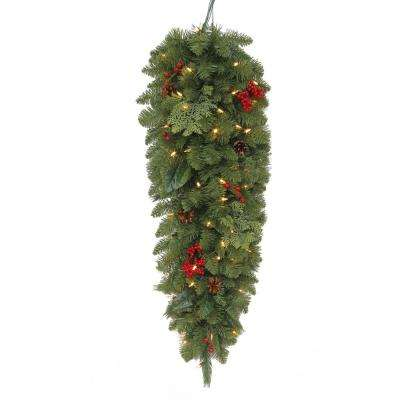36 in. Battery-Operated Pre-Lit LED Artificial Winslow Fir Christmas Tear-drop Swag with 148 Tips and 50 Clear Lights