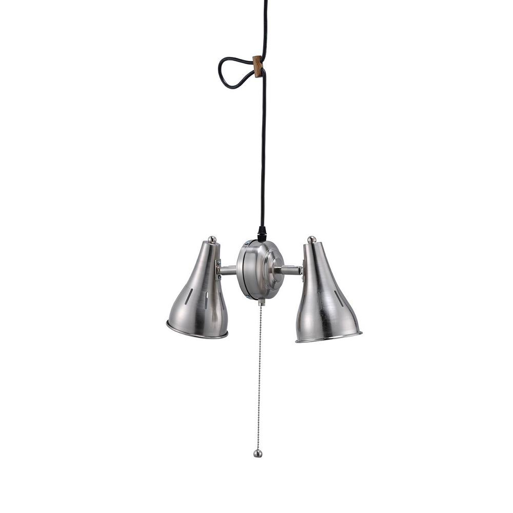 2 Light Dual Brush Silver Metal Cone Pull String Ceiling Pendant