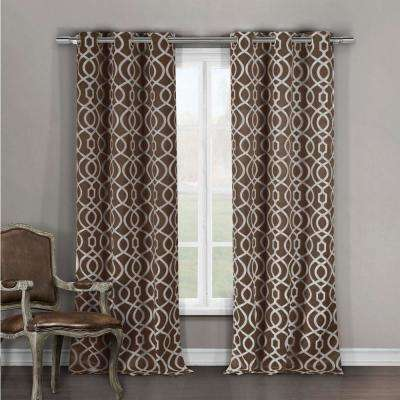 Blackout Harris 84 in. L Grommet Panel in Chocolate (2-Pack)