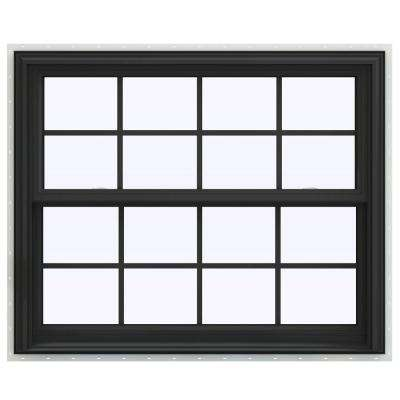 44 in. x 36 in. V-2500 Series Bronze FiniShield Vinyl Double Hung Window with Colonial Grids/Grilles