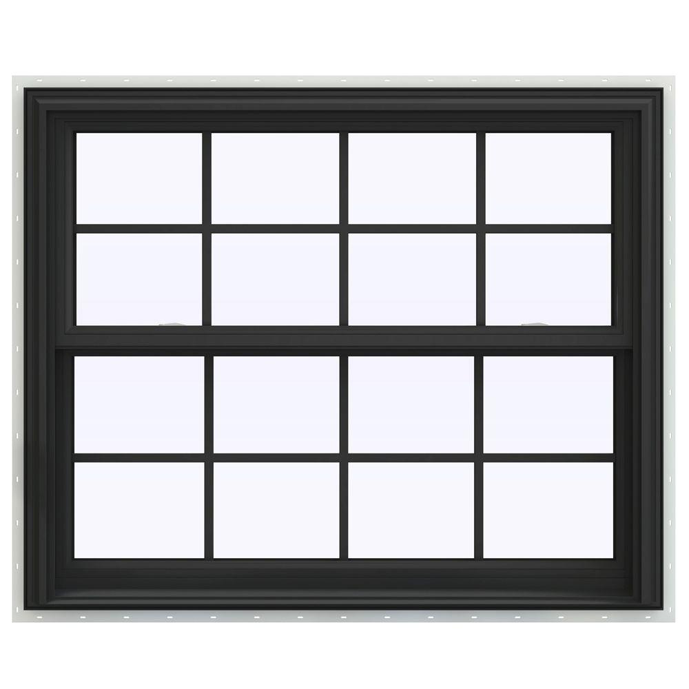 JELD-WEN 44 in. x 41 in. V-2500 Series Bronze FiniShield Vinyl Double Hung Window with Colonial Grids/Grilles