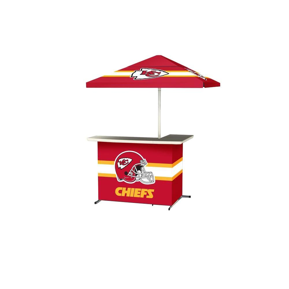 Kansas City Chiefs All-Weather L-Shaped Patio Bar with 6 ft. Umbrella