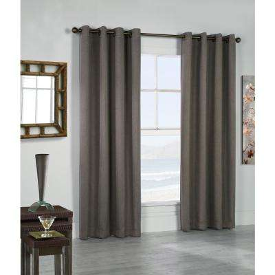 Belize Alloy Grey Grommet Panel Woven Blackout With Silver Clear Finish 104 In X