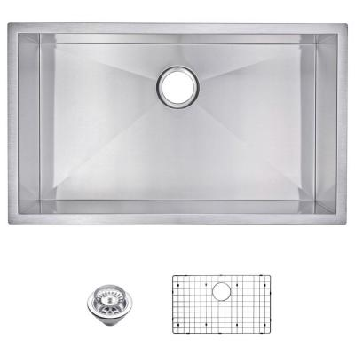 Undermount Zero Radius Stainless Steel 32.in 0-Hole Single Bowl Kitchen Sink with Strainer and Grid in Satin Finish