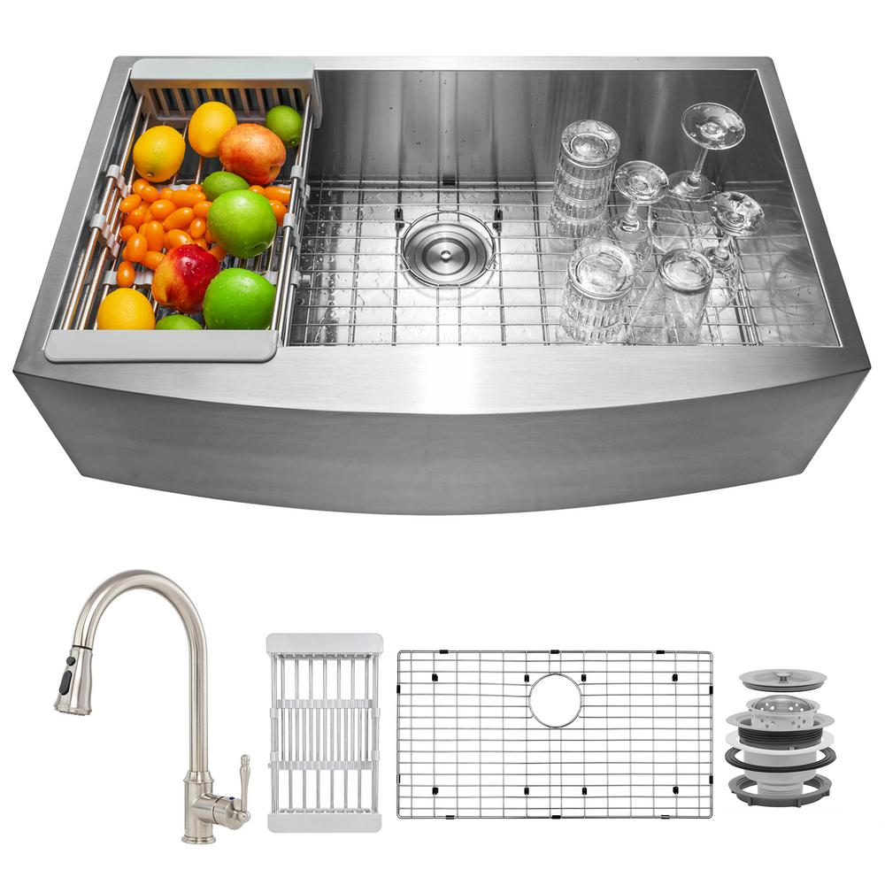 AKDY Handmade All-in-One Farmhouse Stainless Steel 33 in. x 22 in. Single Bowl Kitchen Sink, Pull-Down Faucet and Accessories, Brushed Stainless Steel was $610.0 now $419.99 (31.0% off)