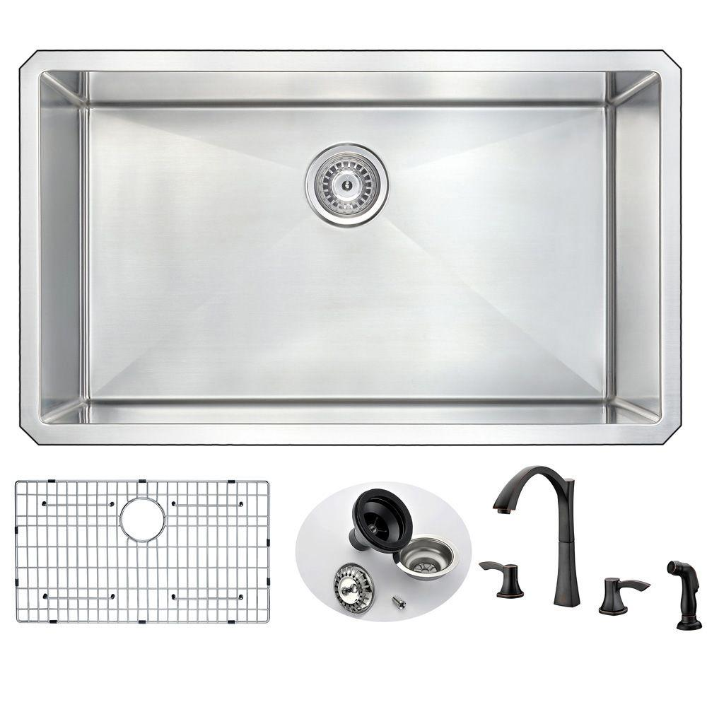 Vanguard Undermount Stainless Steel 32 in. Single Bowl Kitchen Sink with