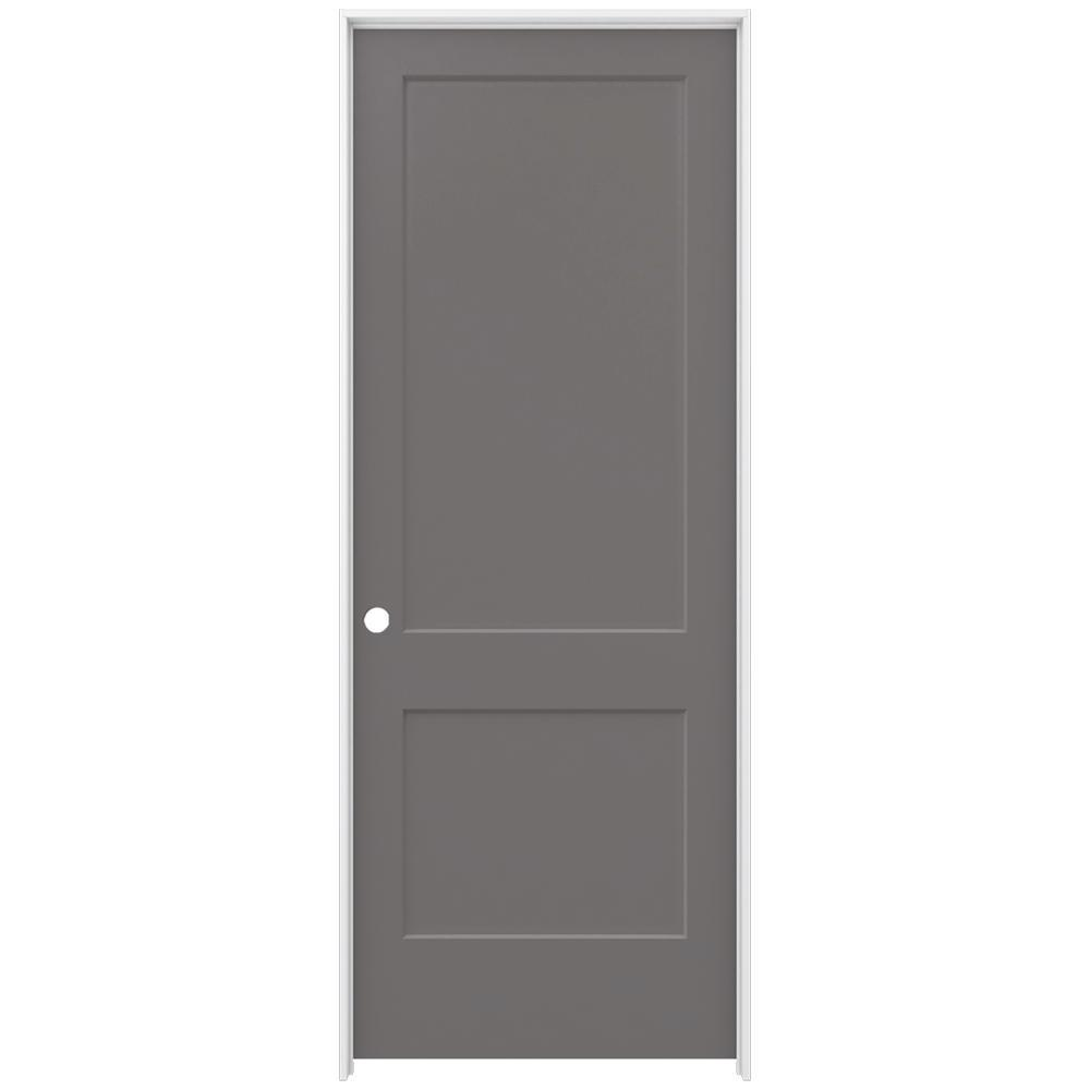 JELD-WEN 36 in. x 96 in. Monroe Weathered Stone Right-Hand Smooth Solid Core Molded Composite MDF Single Prehung Interior Door