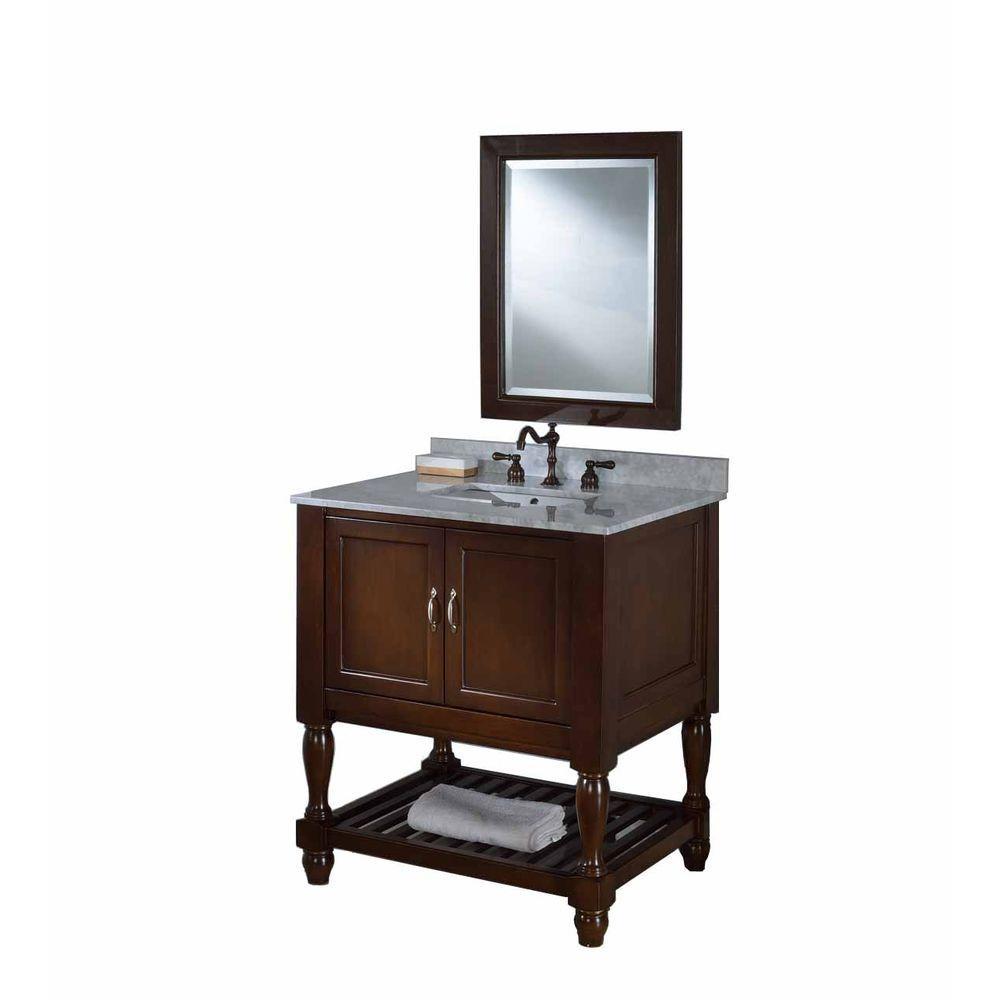 Direct Vanity Sink Mission Turnleg Spa 32 In Vanity In Dark Brown With Marble Vanity Top In Carrara White And Mirror 32s10 Eswc M The Home Depot
