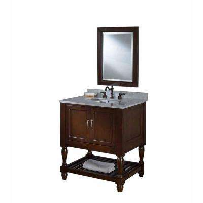 Mission Turnleg Spa 32 in. Vanity in Dark Brown with Marble Vanity Top in Carrara White and Mirror