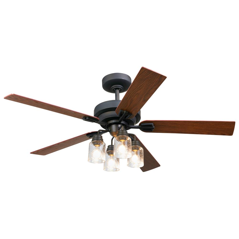 52 in. Indoor Oil Rubbed Bronze DC Ceiling Fan with Light