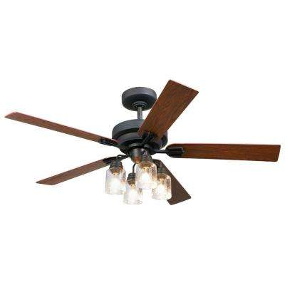 52 in. Indoor Oil Rubbed Bronze DC Ceiling Fan with Light Kit and Remote Control