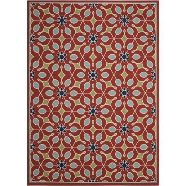 Caribbean Rust 9 ft. x 13 ft. Floral Contemporary Indoor/Outdoor Area Rug
