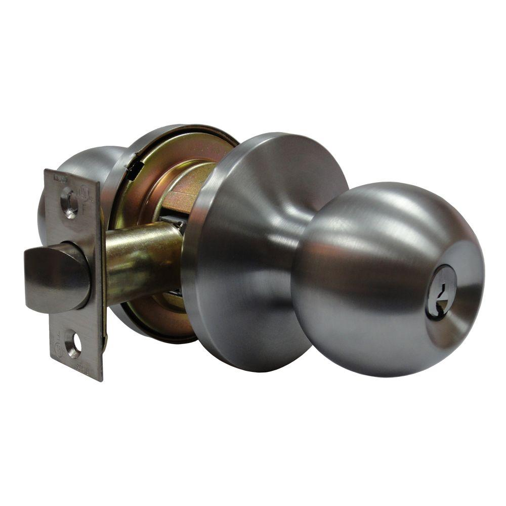 Tubular Ball Satin Chrome Keyed Entry Door Knob