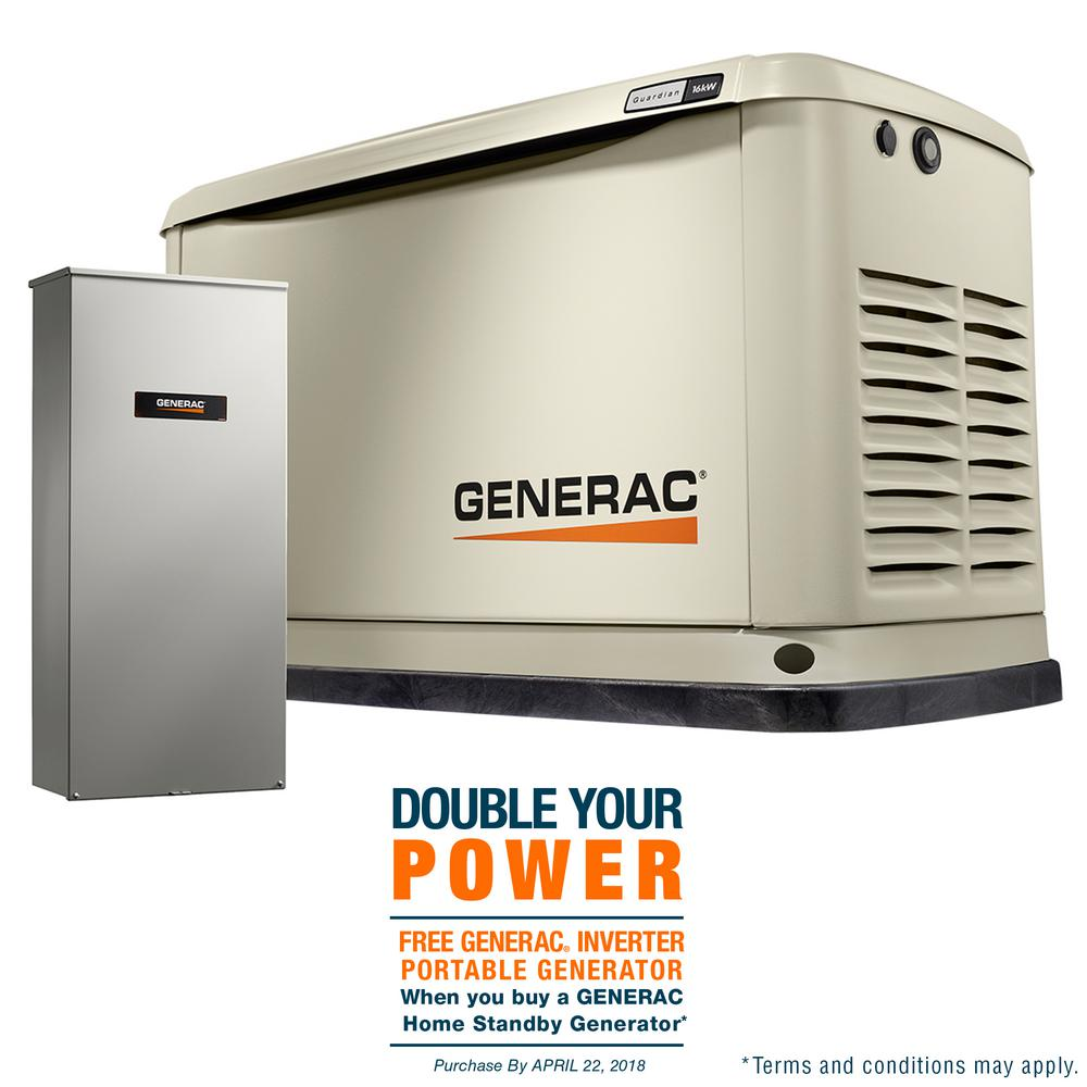 Generac 16,000-Watt (LP)/16,000-Watt (NG) Air Cooled Standby Generator with Whole House 200 Amp Automatic Transfer Switch