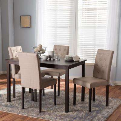 Andrew 10 Buttons 5 Piece Beige Fabric Upholstered Dining Set