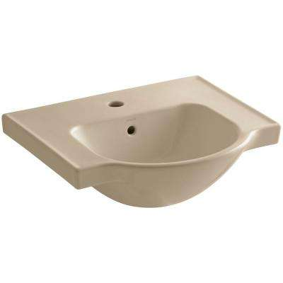 Veer 21 in. Vitreous China Pedestal Sink Basin in Mexican Sand with Overflow Drain