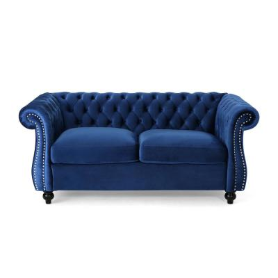 Somerville Traditional Tufted Navy Blue Velvet Chesterfield Loveseat Sofa with Studded Accents