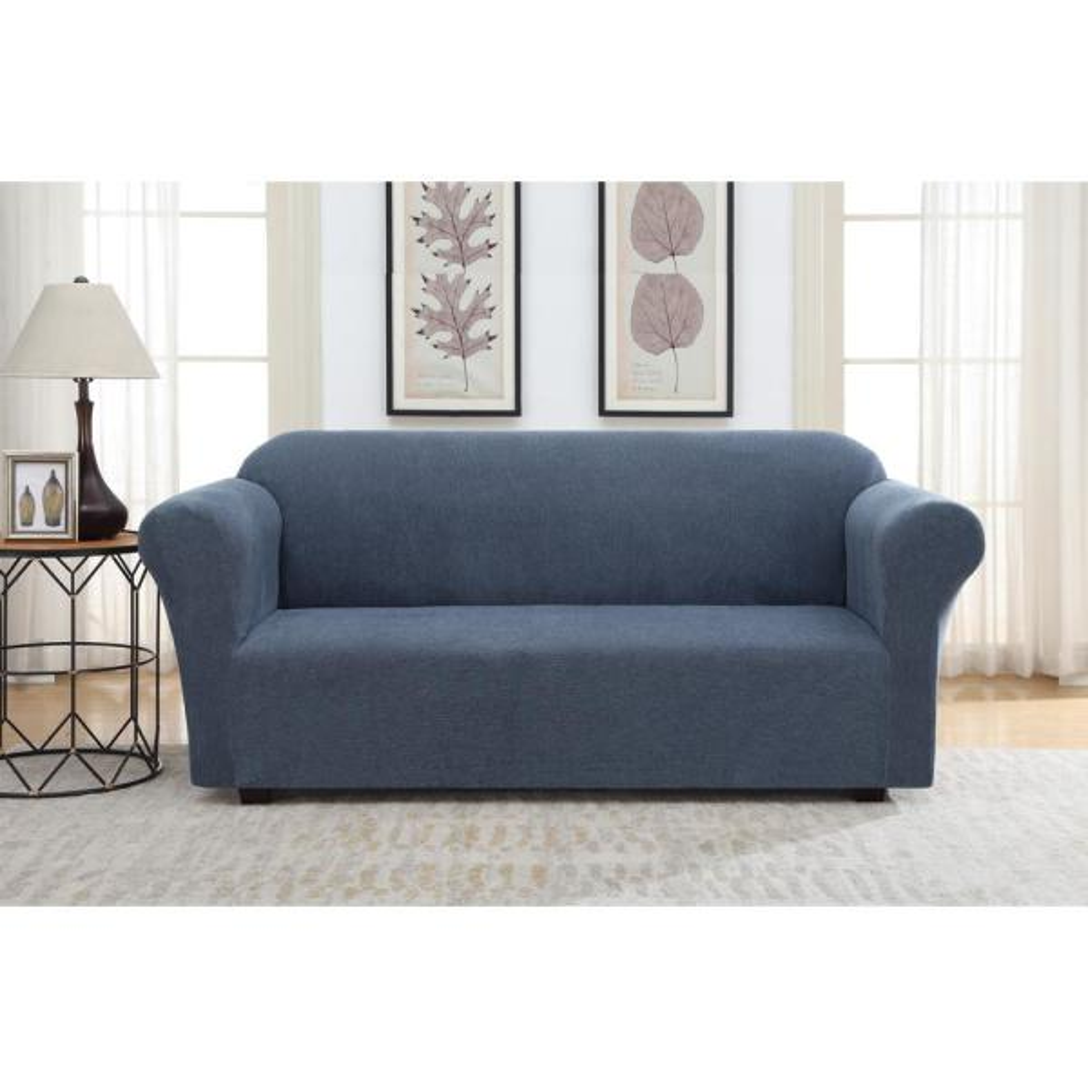 Blue Striae Stretch Fit Sofa Slipcover