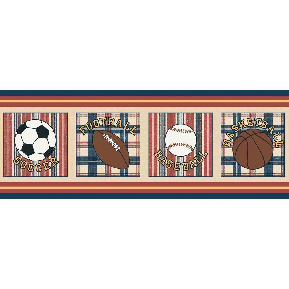 The Wallpaper Company 10.25 in. x 15 ft. Jewel Tone Vintage Varsity Border