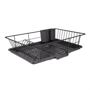 3-Piece Black Dish Drainer Set
