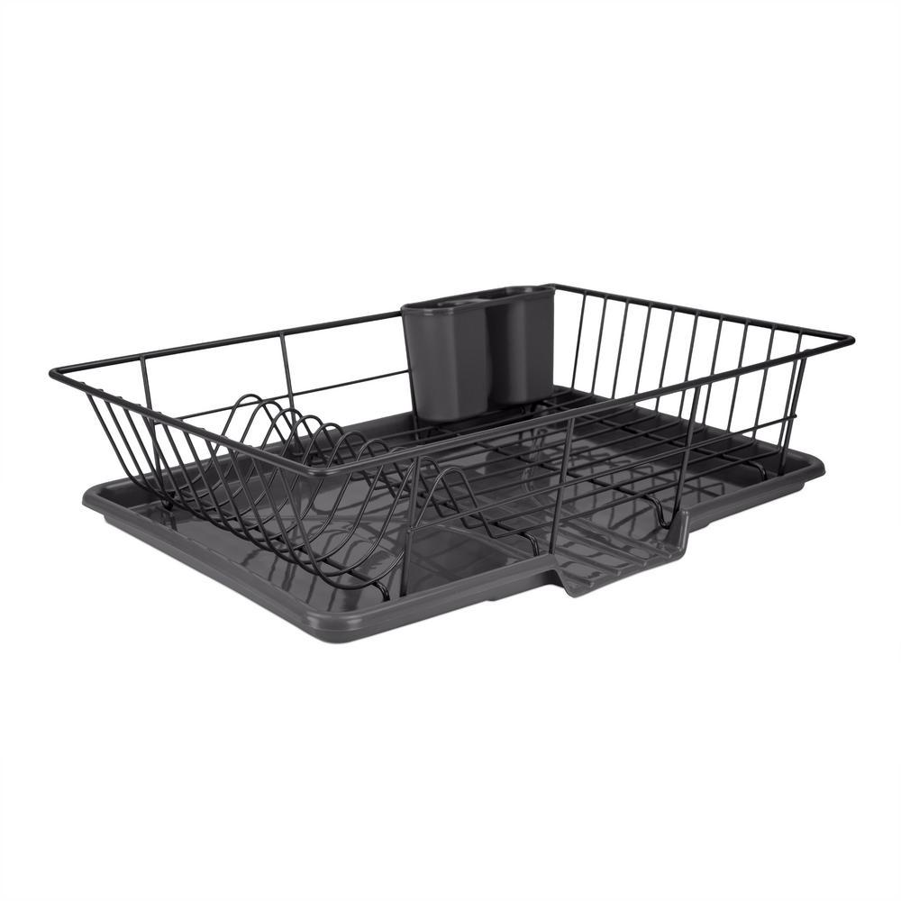 3-Piece Black Dish Drainer Set