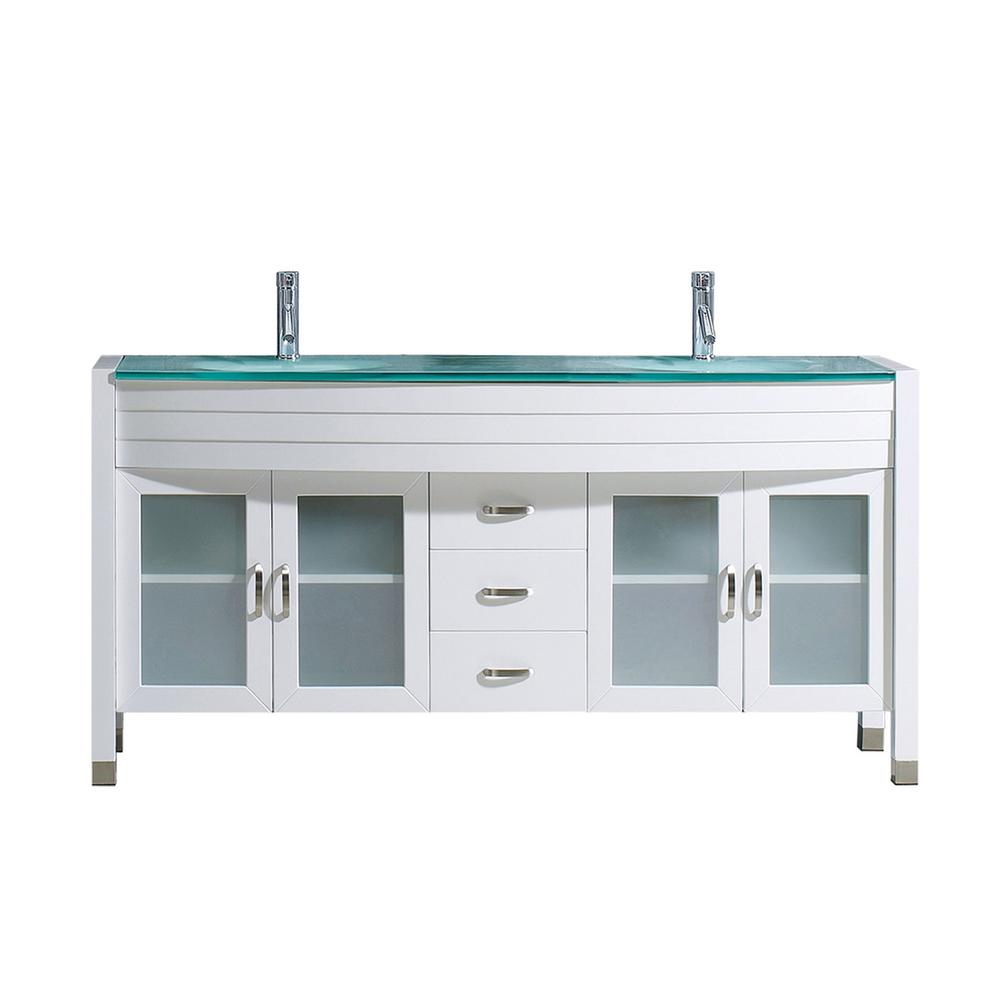 Virtu USA Ava 63 in. W Bath Vanity in White with Glass Vanity Top in Aqua Tempered Glass with Round Basin and Faucet