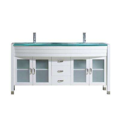 Ava 63 in. W Bath Vanity in White with Glass Vanity Top in Aqua Tempered Glass with Round Basin and Faucet