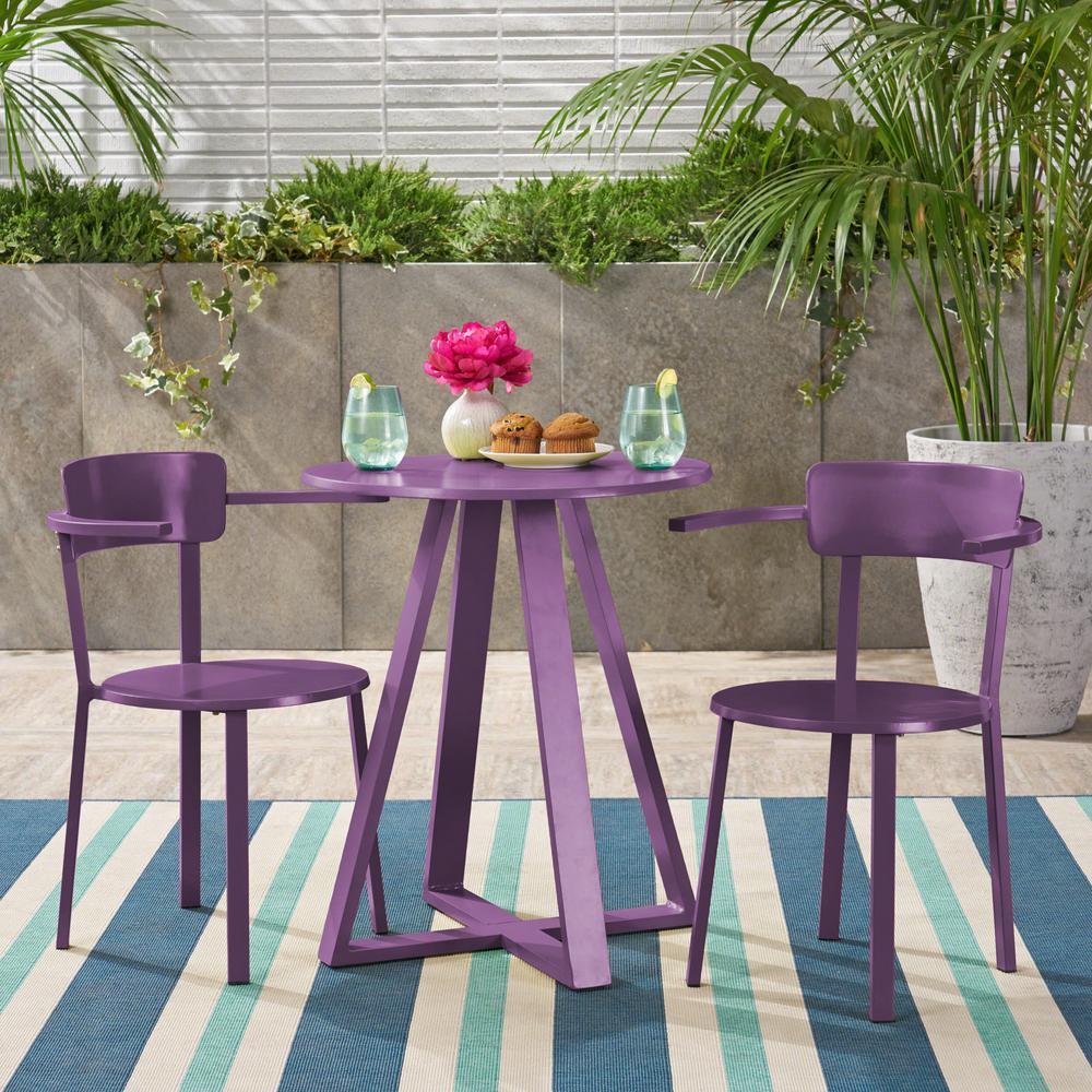 Haiti Matte Purple 3-Piece Metal Outdoor Bistro Set