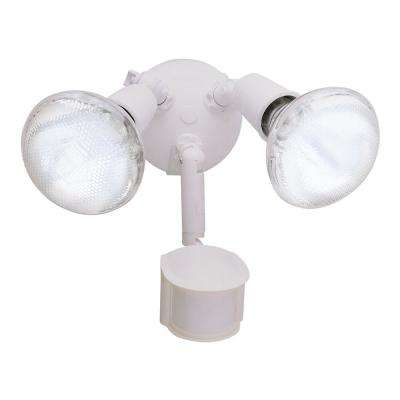 MS185 180-Degree White Twin Head Motion Activated Outdoor Flood Light