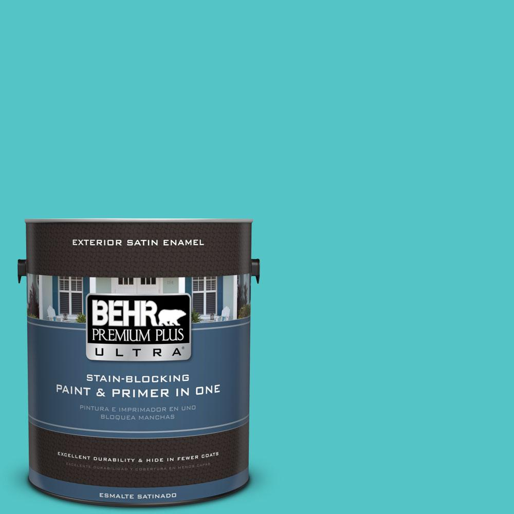 BEHR Premium Plus Ultra 1-gal. #500B-4 Gem Turquoise Satin Enamel Exterior Paint