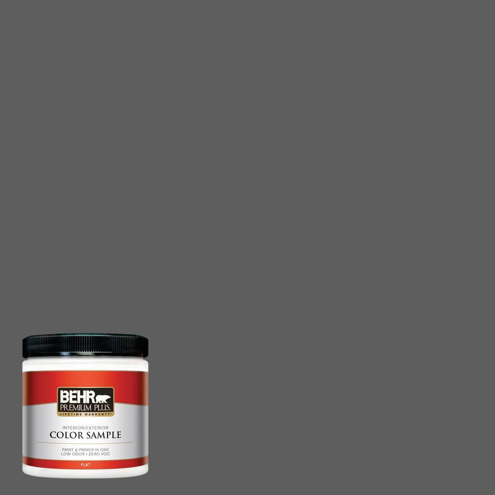 N520 6 Asphalt Gray Flat Interior Exterior Paint And Primer In One Sample