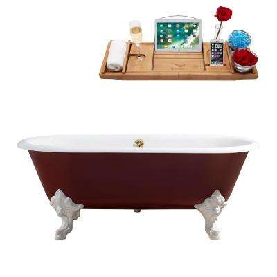 68.9 in. Cast Iron Clawfoot Non-Whirlpool Bathtub in Red