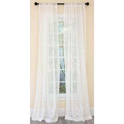 Blossom Embroidered Sheer Single Rod Pocket Curtain Panel in White - 54 in. x 84 in.