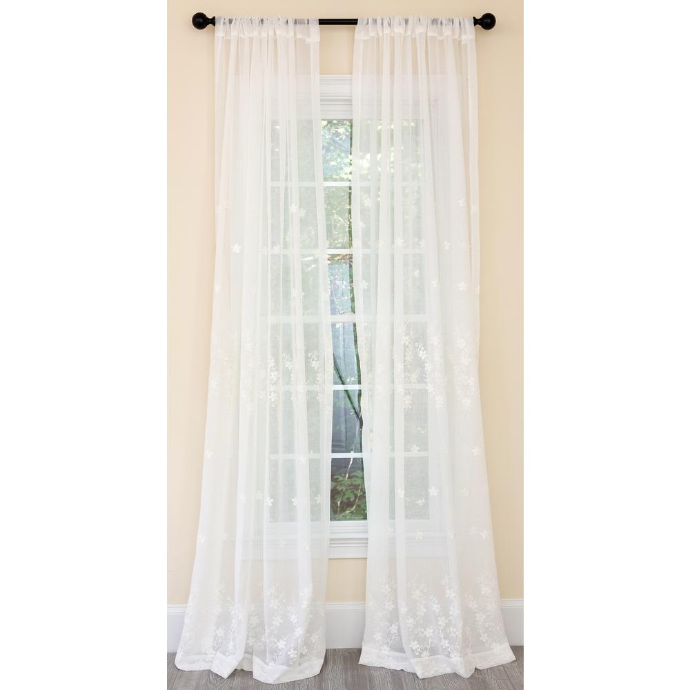 Manor Luxe Blossom Embroidered Sheer Single Rod Pocket Curtain Panel in White - 54 in. x 96 in.