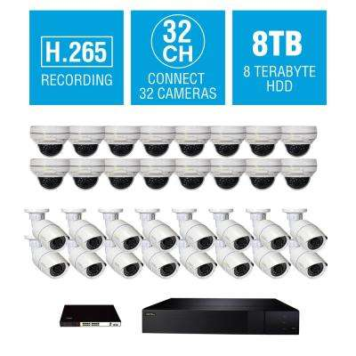 32-Channel 4K 8TB NVR Surveillance System with (16) 4MP Bullet and (16) 4MP Dome Cameras, 16-Way POE Switch