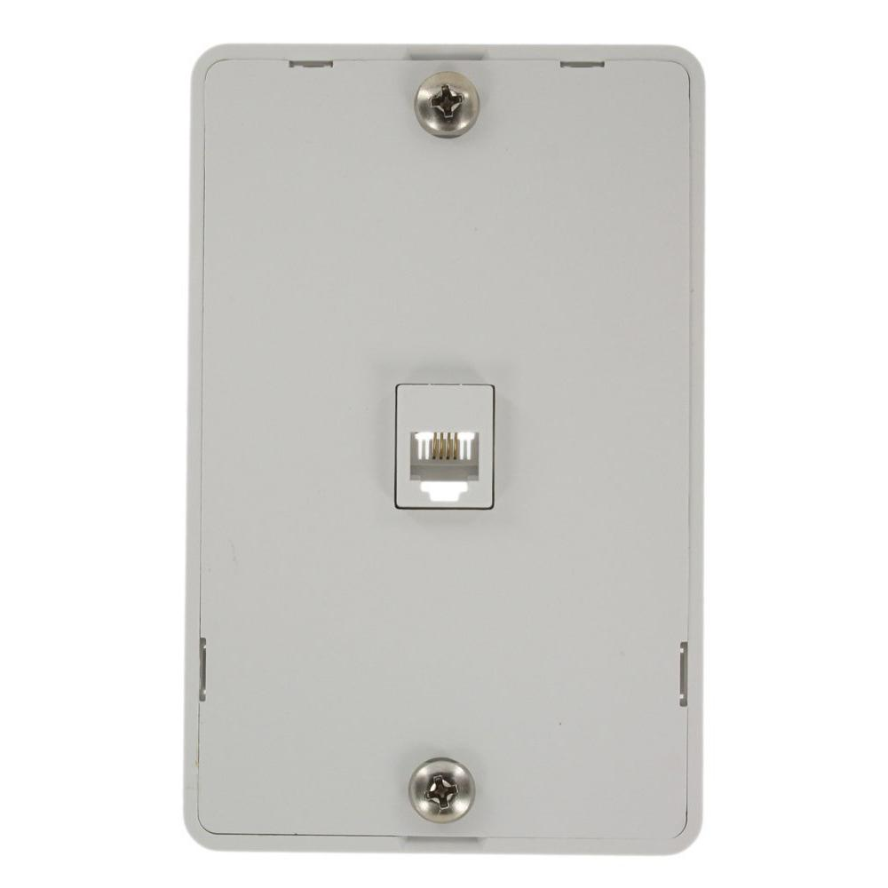 Leviton 6-Position 4-Conductors Screw Terminals Telephone Wall Jack In  White-40214-W - The Home DepotThe Home Depot