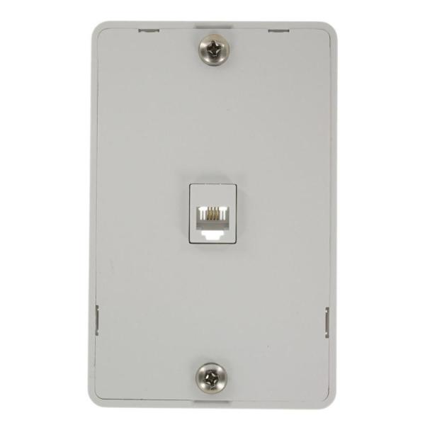 6-Position 4-Conductors Screw Terminals Telephone Wall Jack In White