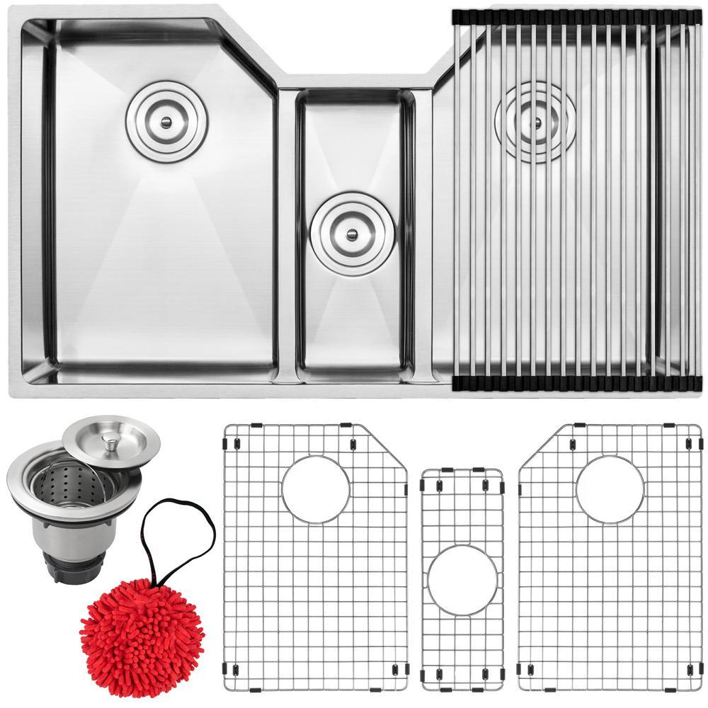 Bradford Undermount 16-Gauge Stainless Steel 35.5 in. Triple Basin Kitchen Sink with Accessory Kit