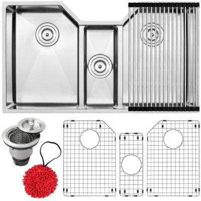Bradford Undermount 16-Gauge Stainless Steel 35.5 in. Triple Basin Kitchen Sink with Accessory Kit