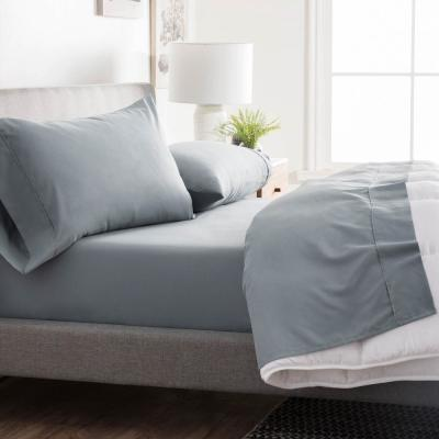 4-Piece Slate Solid Microfiber Queen Sheet Set