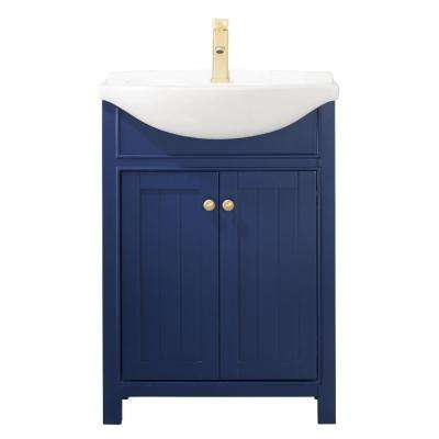 Marian 24 in. W x 17 in. D Bath Vanity in Blue with Porcelain Vanity Top in White with White Basin